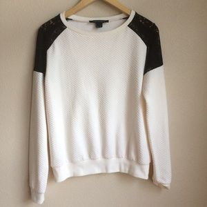 french connection cream knit pullover black lace S